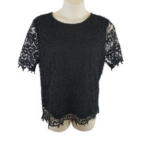 Philosophy Black Crocheted & Lined Blouse Size XXL